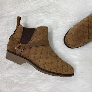 Teva Tan Brown Leather Quilted Ankle Booties Boots